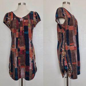 Angie Multi Color Cap Sleeve Textured Mini Dress